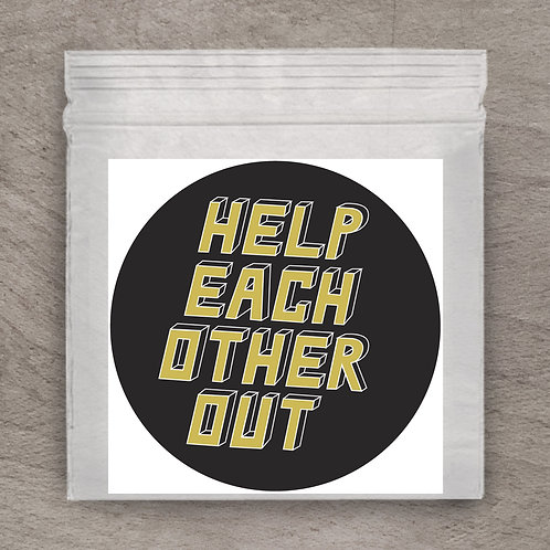 Help Each Other Out Black Sticker