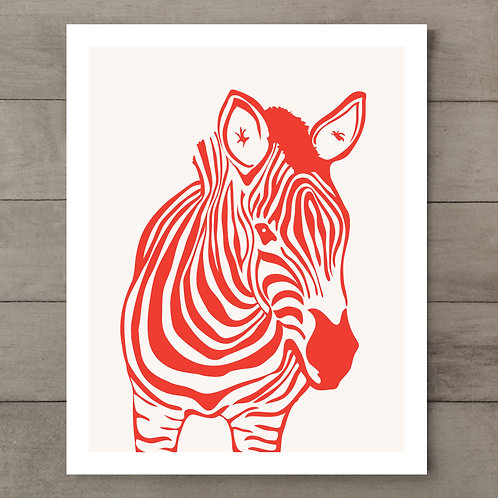 Zebra Orange Art Print
