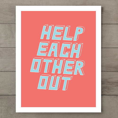 Help Each Other Out Peach Art Print