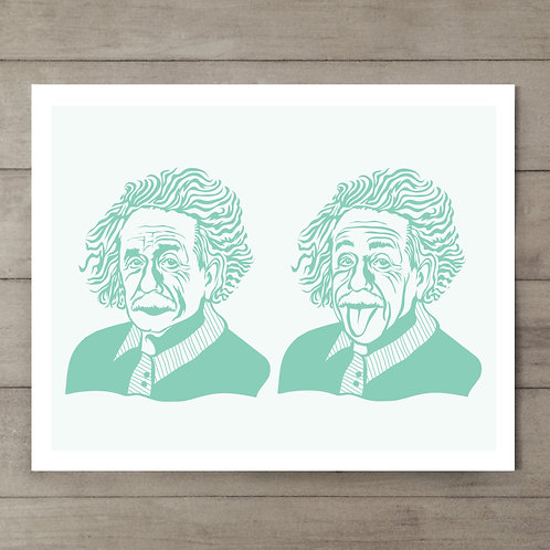 Einstein Teal Art Print