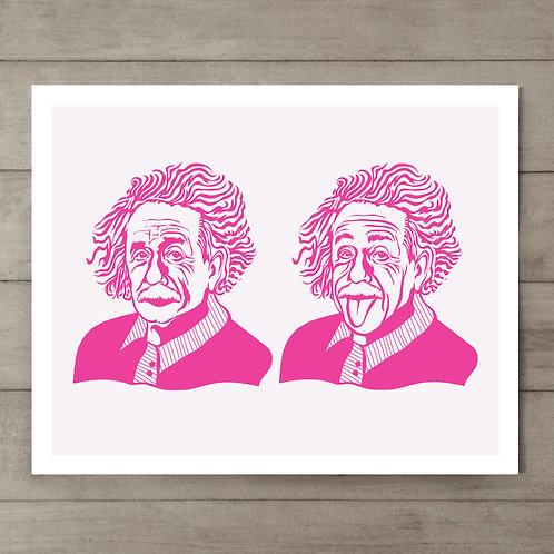 Einstein Pink Art Print