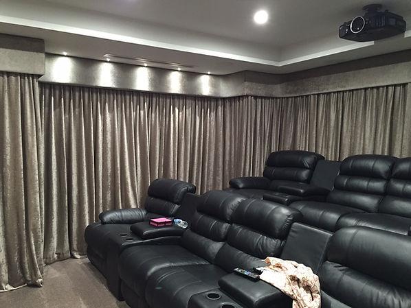 Theatre Room Velvet Curtains and Pelmets
