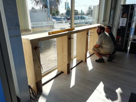 Pose de mobilier réalisé par Éventail Menuiserie