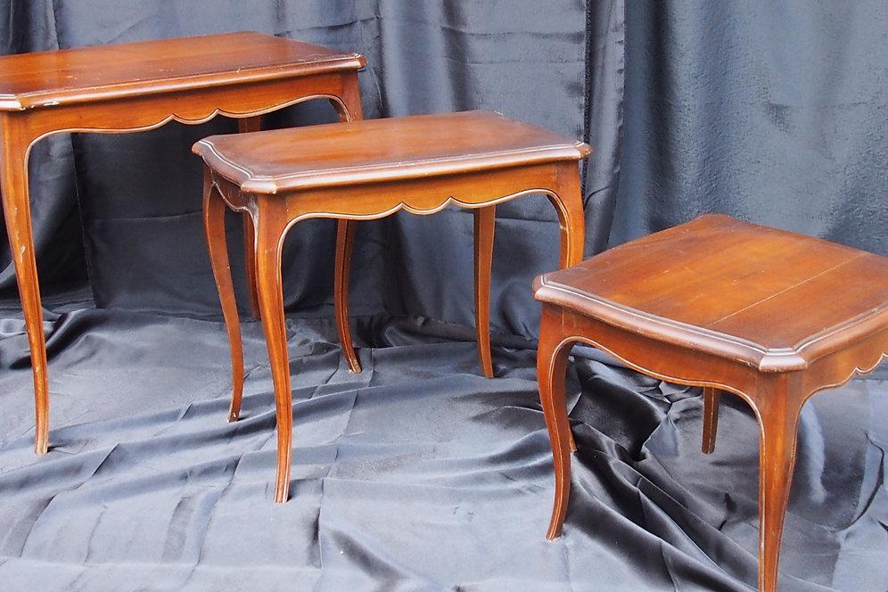 Tables Basses Gigogne Merisier Set 3 Meja Brenoux