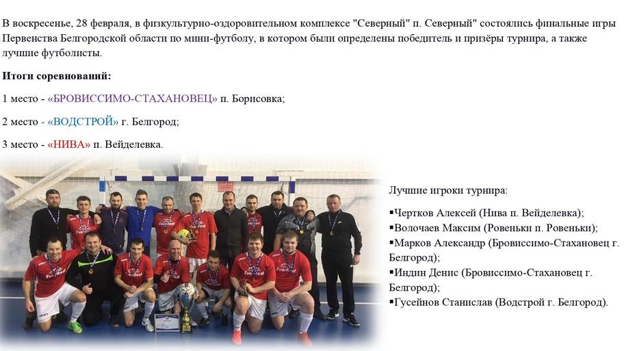 Первенство Белгородской области по мини - футболу 2021 год.