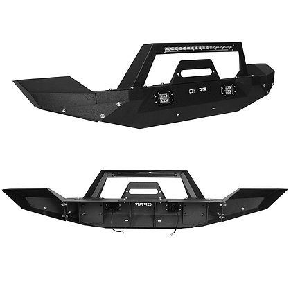Jeep JK 07-18 Front Bumper With Slim Mount Light Bar And Cubes