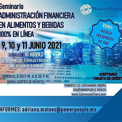SEMINARIO Administración Financiera en A & B en Hoteles y Restaurantes