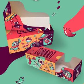 Ilustrações e embalagem para produto