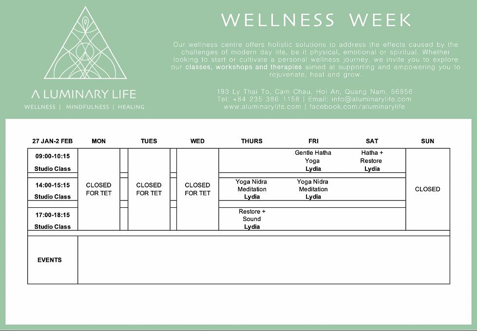 Wellness Week 27Jan A LUMINARY LIFE