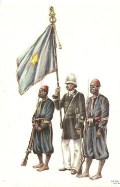 Drapeau de la force publique 1890 (d'après une aquarelle de James Thiriar)