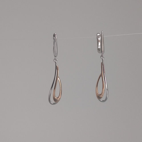 Earrings rose gold and rhodium plated sterling silver by Breuning