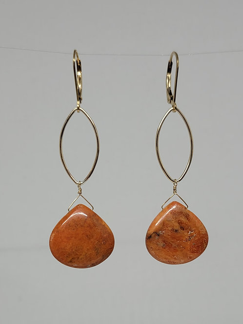 Earrings sponge coral drops yellow gold filled