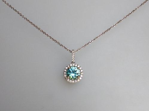 Pendant blue zircon and diamonds