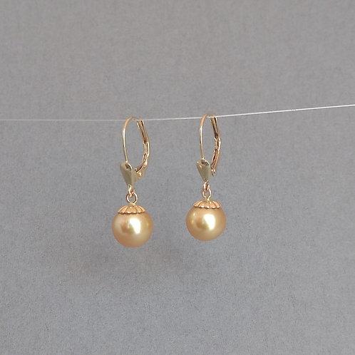 Golden pearls earrings