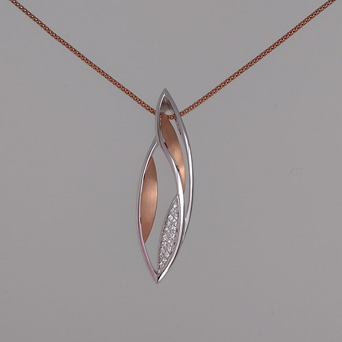 Pendant curved shapes rose gold plate by Breuning