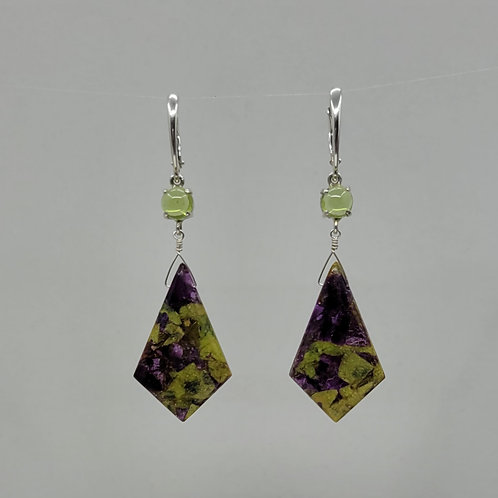 Earrings stitchite and peridot in sterling silver