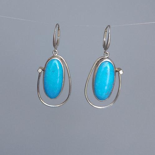Earrings turquiose and diamonds