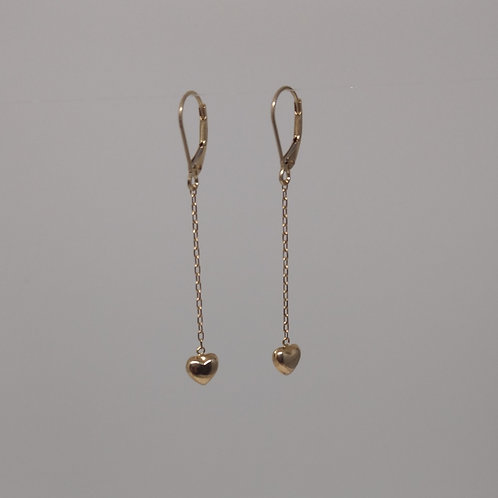Earrings gold dangle hearts