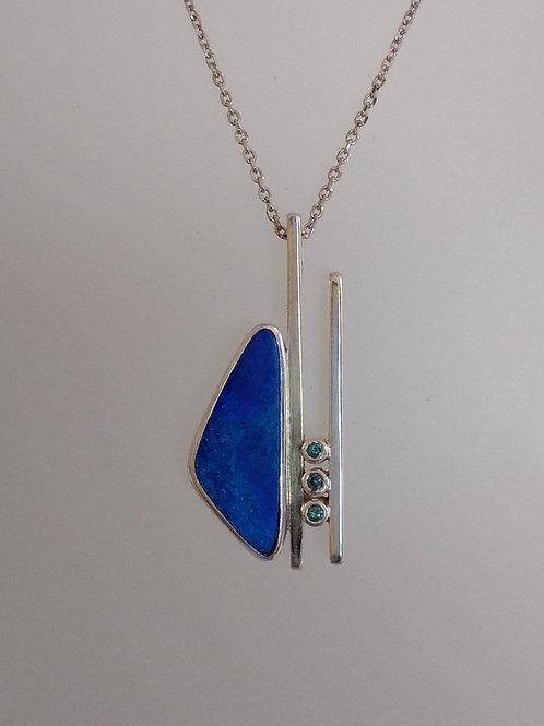 Blue opal with blue diamonds