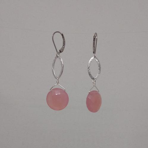 Earrings pink chalcedony in sterling silver