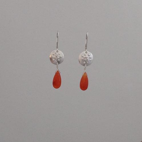 Earrings cornelian briolettes in sterling silver