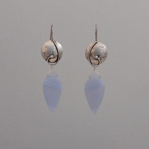 Earrings blue lace agate drops in sterling silver