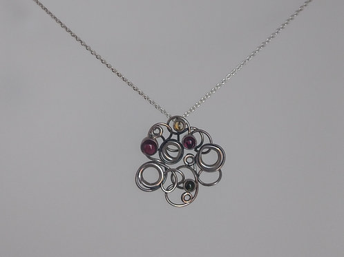 Pendants sterling silver bubbles and color stones