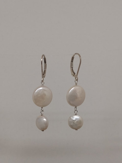 Earrings coin pearls
