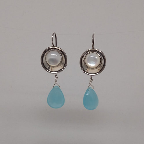 Earrings mother of pearl and blue chalcedony in sterling silver