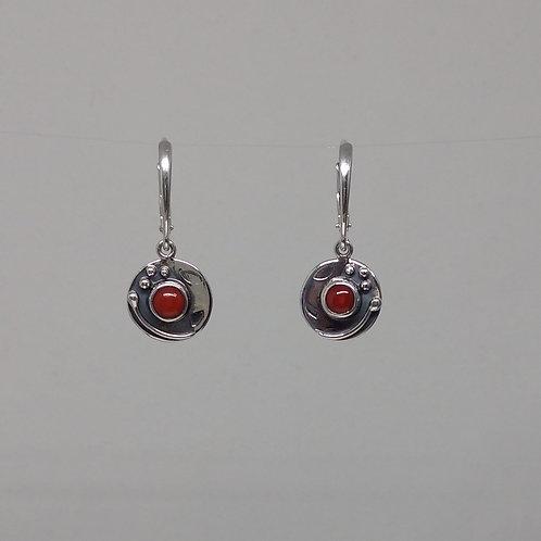 Earrings  coral in sterling silver