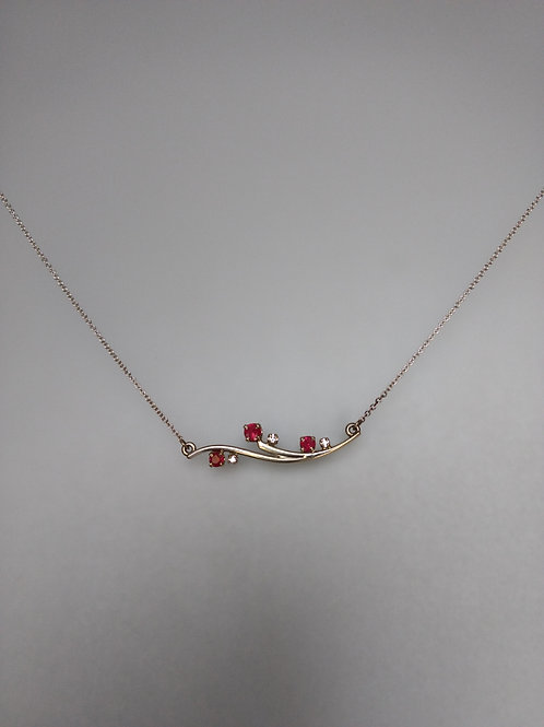 Necklace rubies and diamonds