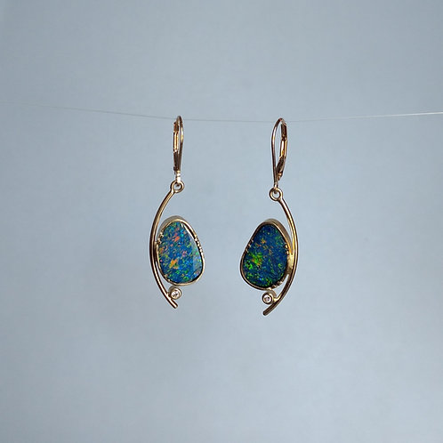 Earrings with opals and diamonds