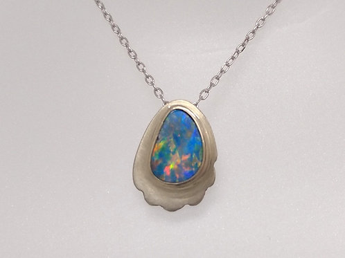 Blue Opal Pendant in White Gold