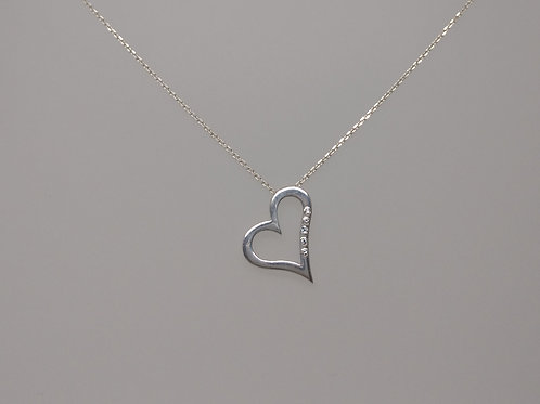 Open heart in silver and diamonds