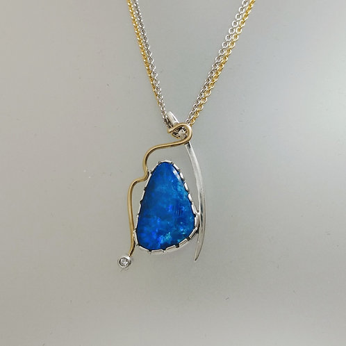 Opal with sterling and gold