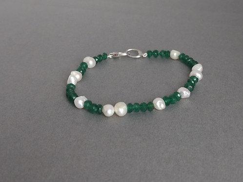 Bracelet aventurine beads and pearls