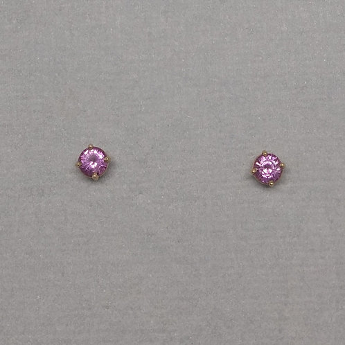 Earring studs with pink sapphires