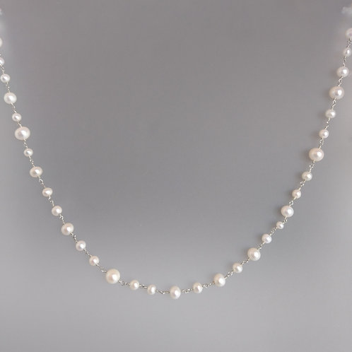 Necklace pearls with wire sterling