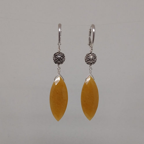 Earrings yellow aventurine drops and sterling silver
