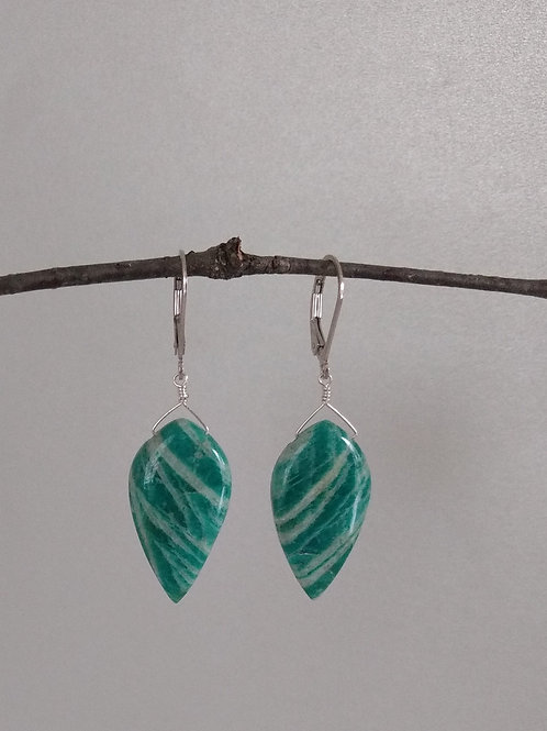 Earrings carribean blue amazonite drops