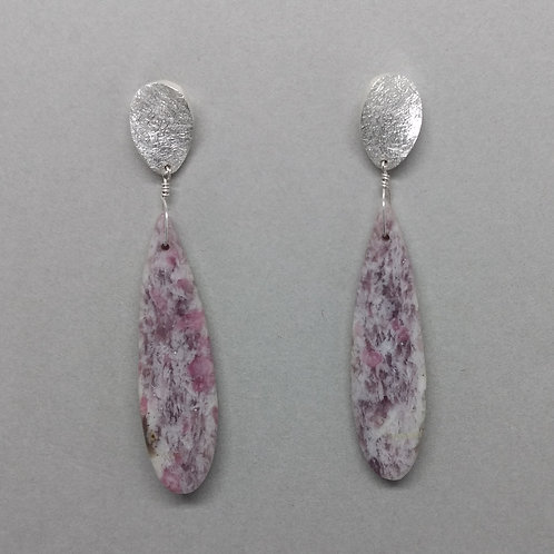 Earrings quartz with pink tourmaline in sterling silver