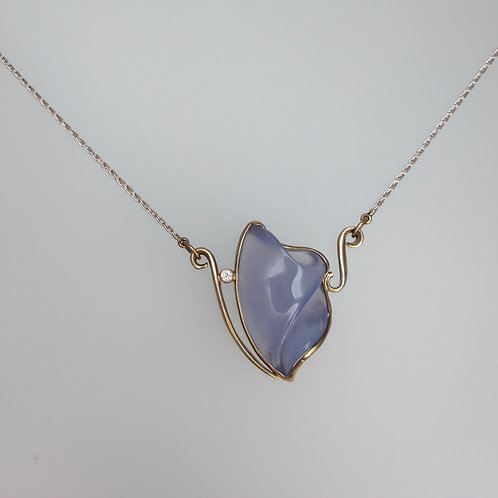 Carved blue chalcedony necklace