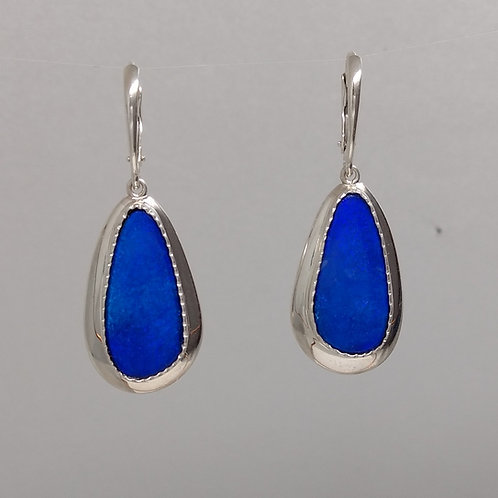 Blue Opal Sterling Silver Earrings