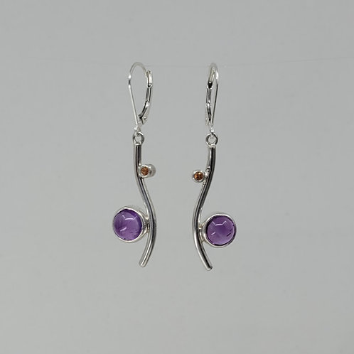 Earrings amethyst and sapphires in sterling silver