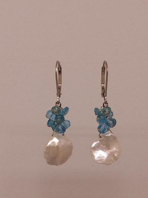 Earrings keshi pearls and blue topaz