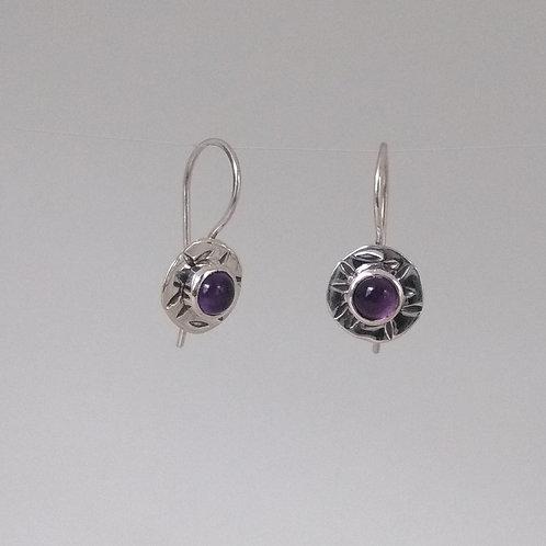 Earrings amethyst flowers