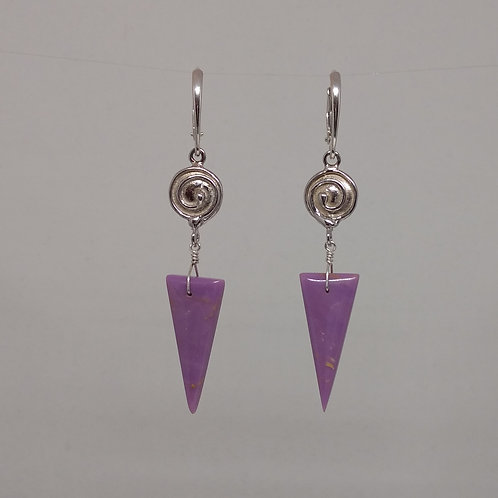 Earrings phosphosiderite  drops and spirals in sterling silver