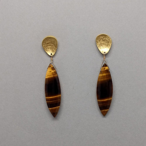 Earrings tiger eye drops with yellow gold plate tops