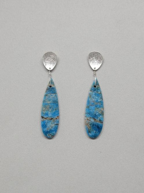 Earrings sterling silver apatite drops
