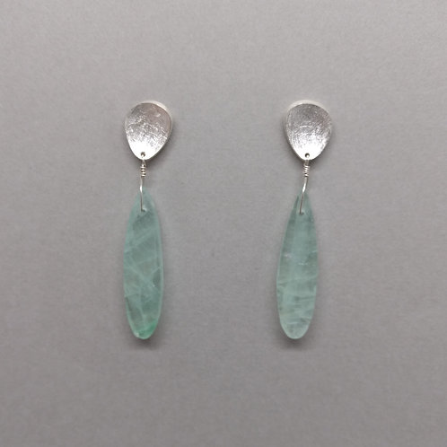 Earrings green fluorite with sterling silver tops